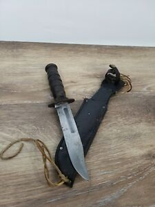 Vintage U.S. Camillus Combat Fighting Knife with Leather Sheath USA Made