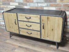 Retro Industrial Style Large Wood Metal Sideboard Vintage Retro Storage Cabinet