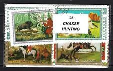Chasse - Hunt 25 timbres différents oblitérés