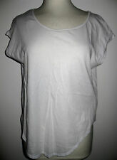 ZARA WHITE LEATHER LOOK TRIM Loose TUNIC TOP Shirt BOAT SCOOP NECK KEYHOLE BACK