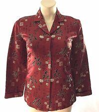 Chicos 1 Medium Tunic Shirt Jacket Silk Blend Dark Red Black Chinese Writing LN