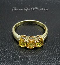9ct Gold Citrine Trilogy Ring Size N 2.55g