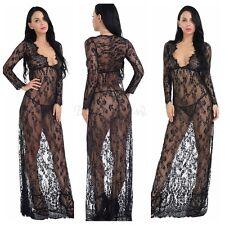 Women's Sexy Lace Lingerie Soft Long Sleepwear Nightgown Dress Robe G-String Set