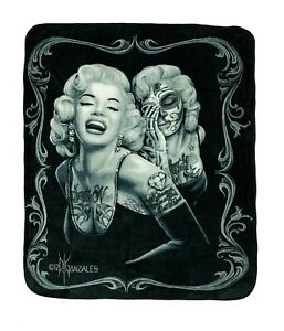 DGA Marilyn Monroe Day of the Dead Thick Queen Size Blanket Smile Now Cry Later