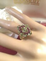 Vintage Jewellery Gold Ring with Peridot and Amethyst Stones Antique Jewelry