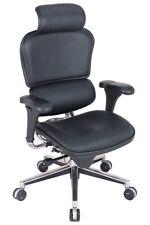 NEW Eurotech Ergohuman Chair - Black Leather, High Back w/ Headrest, LE9ERG