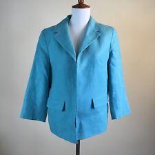 Talbots Women Blazer Jacket Turquoise Blue 100% Linen Size 8 Casual Work Wear