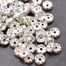 100Pcs GOLD & SILVER & Black,Czech Crystal Rhinestone Wavy Rondelle Spacer Beads