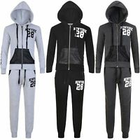 Kids Tracksuit Boys Girls New York 28 Print Hooded Top Jogging Bottoms 3-16 Y