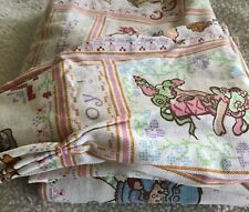 Strawberry Shortcake Pair of Pleated Curtain Panels Vintage Pink White Usa