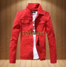 Mens Pretty Slim Fit Red Denim Jeans Jacket Slim Fit Outwear Casual Jackets Tops