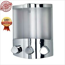 Triple Soap Dispenser Wall Mounted For Bathroom Chrome Shampoo Function Shower