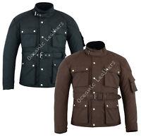 Black Brown Waxed Cotton Wax Motorcycle Bike Waterproof CE Armour Jacket S-10XL