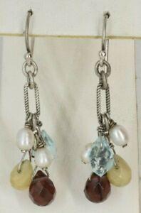 Silpada Sterling Silver Multistone Dangle French Hook Earrings Topaz / Garnet