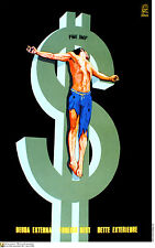 Political cuban POSTER.FOREIGN DEBT.Christ nailed to $$.World Revolution Art.06