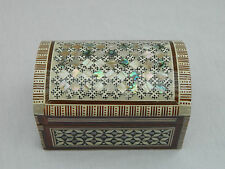 "Egyptian Inlaid Treasure Mother of Pearl Handmade Jewelry Box 4.25"" # 439"