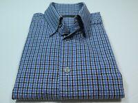 Ermenegildo Zegna Men's Cotton Blue Checks Plaids Italian Casual Shirt Large EUC