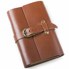 Ancicraft Classic Refillable Leather Journal with Strap Buckle A6 Blank Paper