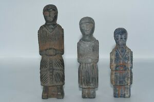 3 Ancient Bactrian Lapis Lazuli & Composite Stone Idol Figurines From Balkh