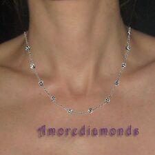 "2.4 ct F SI round diamond by the yard eyeglass bezel necklace 14k white gold 20"""