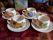 PORTMEIRION POMONA VERY RARE SET OF 4 TEA CUPS & SAUCERS ORIGINAL NO-BORDER EXC!