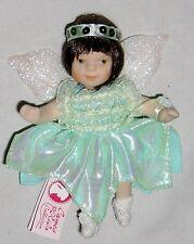 """Porcelain 5"""" Flexible Doll Wearing Green Angel Dress"""