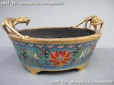 Chinese Sign Royal 100% Bronze Gild Cloisonne Two Dragon incense burner censer