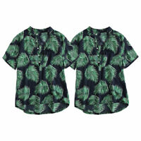 Men Aloha Short Sleeve Floral T-Shirts Beach Bottons Tops Summer Loose Polo Tees