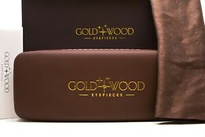 Gold and Wood Eyeglasses case with cloth New Authentic