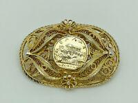 Gorgeous Vintage Gold on Sterling Silver Greek Coin Acropolis Filigree Brooch