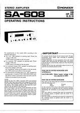 Pioneer SA-608 Amplifier Owners Manual