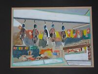 New York City NYC Butcher Shop Impressionist Watercolor Art Painting Still Life