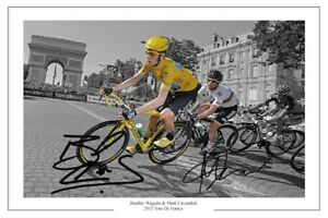 BRADLEY WIGGINS & MARK CAVENDISH SIGNED PHOTO PRINT TOUR DE FRANCE CYCLING