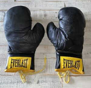 Vintage Made In USA Everlast Boxing Gloves 14 oz Black Good Condition