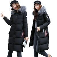 UK Winter Women's Down Cotton Jacket Parka Long Puffer Quilted Hooded Coat 6 -14