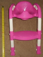 Toddler Girls Pink 1 Toilet Potty Trainer Seat Chair Ladder Step Up Stool