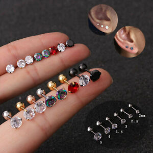 Crystal Cartilage Earring Conch Tragus Stud Helix Cartilage Piercing Jewelry