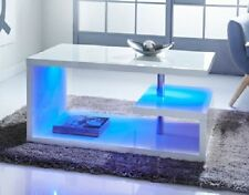Luxury Modern Design White High Gloss Coffee Table With LED Lights