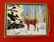Vintage 1983 Cerf Dans la neige laiton massif boucle ceinture