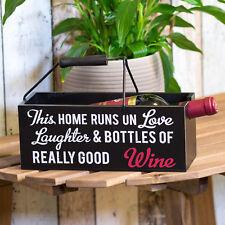 BOTTIGLIA di vino in legno nero Storage Rack titolare con maniglia trasporto casella di visualizzazione