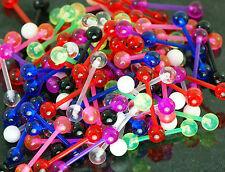 """50 Pc 14g 5/8"""" bio- flex bars U.V. Solid Ball Tongue Rings Nipple Barbells"""