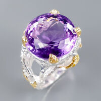 Amethyst Ring Silver 925 Sterling 17 mm. IF AAA color Size 9 /R139749