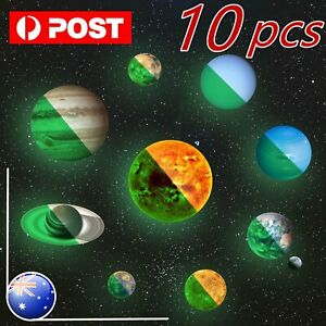 10X Planet Decal System Wall Sticker Kids Room Decor In The Dark Solar star Glow