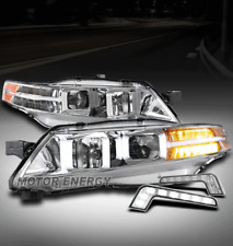 FOR 04-08 ACURA TL LED PROJECTOR CHROME HEADLIGHTS LAMPS W/DRL SIGNAL LEFT+RIGHT