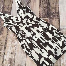TRINA TURK Size 0 Tank Dress FITTED SHEATH Brown White Silk Blend