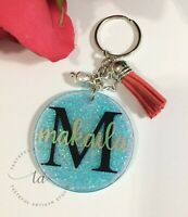 Mermaid Color Glitter Personalized Keychain, Bling, Charm, Pearl & Suede Tassel