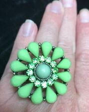 Big Green jeweled crystal Flower Bling Stretch Ring