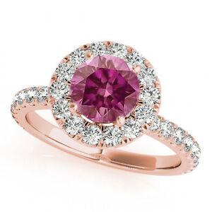 1.10 Ct Pink Purple Hpht VS2 Diamond Halo Ring 14k RG Valentineday Spl. Sale