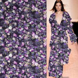Purple floral print 100% silk georgette gauze silk fabric 136cm width,SCG557