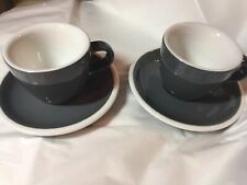 SET OF 2 SMALL ACME DEMITASSE GRAY / White INSIDE CUP AND SAUCER Coffee Tea